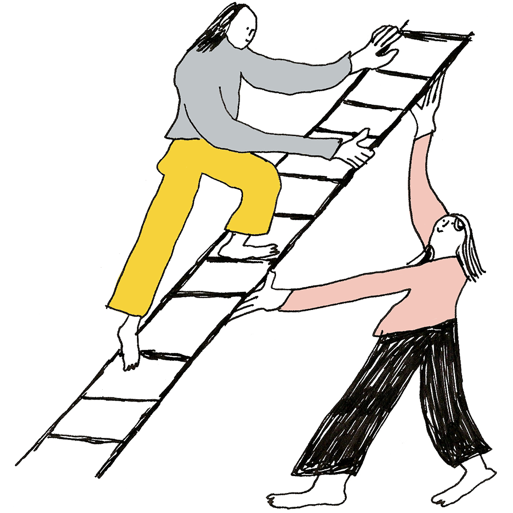 Illustration of two figures on a ladder. one holds the ladder while the other climbs. Illustration by Charlotte Ager.