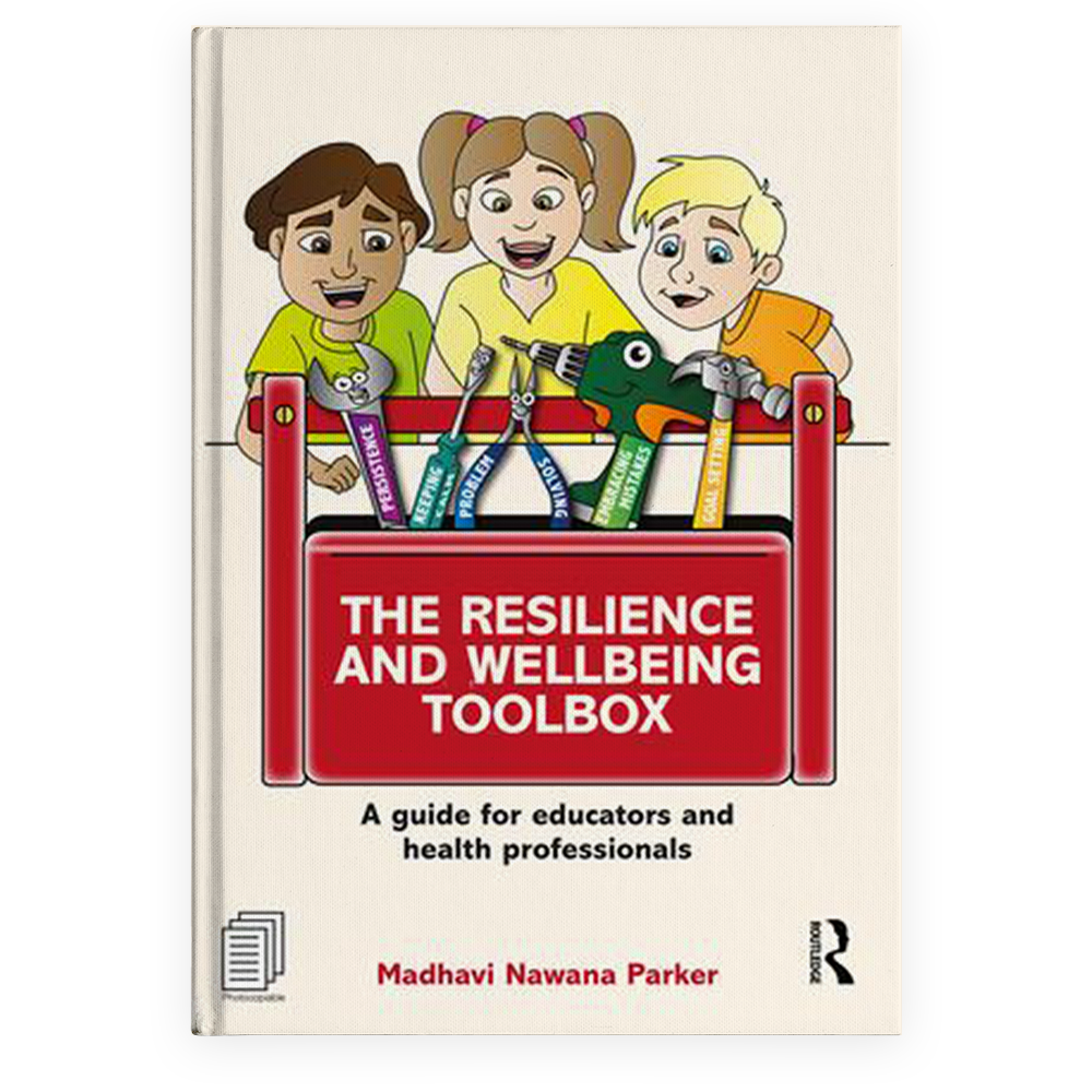 The Resilience and Wellbeing Toolbox book cover: three children with a toolbox